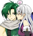 1boy 1girl bangle bare_shoulders black_gloves blue_scarf blush bracelet cheek_kiss closed_eyes couple dress elbow_gloves fire_emblem fire_emblem:_akatsuki_no_megami gloves green_hair hair_ribbon half_updo heart hetero jewelry kiss long_hair micaiah nintendo ribbon scarf side_slit silver_hair simple_background sleeveless sleeveless_dress sothe twitter_username yukia_(firstaid0)