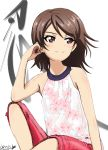 1girl alternate_hairstyle arm_support artist_name bukkuri casual character_name closed_mouth commentary dated elbow_on_knee eyebrows_visible_through_hair floral_print girls_und_panzer hair_down halter_top halterneck hand_in_hair highres kanji kawanishi_shinobu leg_up looking_to_the_side pink_shorts print_shirt shirt shorts signature simple_background sitting smile solo white_background white_shirt wind