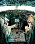 3girls aircraft airplane alpaca_ears alpaca_suri_(kemono_friends) animal_ears bangs bird_wings blush brown_coat brown_hair buttons coat cockpit commentary_request cup day dial doitsuken eurasian_eagle_owl_(kemono_friends) eyelashes from_behind fur-trimmed_coat fur_collar fur_trim grey_coat grey_hair hair_over_one_eye head_wings headphones headset japari_symbol kemono_friends looking_at_viewer looking_back multicolored_hair multiple_girls northern_white-faced_owl_(kemono_friends) owl_ears pantyhose parted_lips pilot plane_interior pocket reaching_out shoes short_hair sitting teacup tray uwabaki v white_hair white_legwear wings