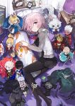 1girl andrian_gilang arjuna_(fate/grand_order) artoria_pendragon_(all) bed berserker black_dress black_legwear cardigan character_doll dakimakura_(object) dress fate/grand_order fate_(series) fou_(fate/grand_order) from_above fujimaru_ritsuka_(female) hair_between_eyes highres illyasviel_von_einzbern indoors karna_(fate) long_sleeves looking_at_viewer lying mash_kyrielight miniskirt mordred_(fate) mordred_(fate)_(all) necktie no_shoes oda_nobunaga_(fate) okita_souji_(fate) okita_souji_(fate)_(all) on_side open_cardigan open_clothes pantyhose pillow pink_eyes pink_hair pleated_dress red_neckwear saber short_dress short_hair skirt smile solo sweater violet_eyes