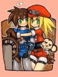 1boy 1girl :3 android animal bare_legs belt bike_shorts bike_shorts_under_shorts blonde_hair blush blush_stickers brown_gloves brown_hair cabbie_hat capcom closed_mouth couple dakusuta data_(rockman_dash) gloves green_eyes hair_between_eyes hat heart hetero highres legs long_hair looking_at_another looking_at_viewer monkey no_headwear no_helmet open_mouth pink_background red_clothes red_hat red_shirt red_shorts rock_volnutt rockman rockman_dash roll_caskett shirt short_hair short_shorts short_sleeves shorts side-by-side smile speech_bubble spoken_heart standing steering_wheel