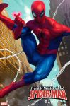 1boy blue_sky bodysuit building city cityscape comic cover cover_page facing_viewer heart looking_at_viewer marvel mask muscle silk skin_tight sky spider-man spider-man_(series) spider_web spider_web_print stanley_lau superhero webbing