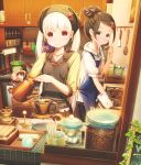 2girls abo_(kawatasyunnnosukesabu) apron bangs black_apron blonde_hair blue_apron blush bottle bowl brown_eyes brown_hair cabinet coffee coffee_beans coffee_grinder collarbone commentary_request eating from_outside hair_bun hair_ornament head_scarf highres jar kitchen kitchen_scale long_hair looking_at_viewer multiple_girls original oven_mitts plant red_eyes shelf shirt sidelocks sign smile teapot twintails vines weighing_scale whisk white_shirt window yellow_shirt