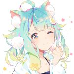 1girl ;) animal_ear_fluff animal_ears aqua_hair bangs blue_eyes blush camisole cat_ears closed_mouth collarbone eyebrows_visible_through_hair hair_ornament hand_up highres hood hood_down hooded_jacket jacket long_hair long_sleeves mao_ge multicolored multicolored_eyes one_eye_closed open_clothes open_jacket original paw_hair_ornament pink_eyes purple_camisole simple_background smile solo white_background white_jacket