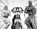 1girl 2boys abs armlet armor bald belt biceps blush bodysuit breasts darius_iii_(fate/grand_order) dark_skin earrings fate/grand_order fate_(series) flexing gloves grin huge_breasts japanese_armor jewelry kanno_takanori kote long_hair low-tied_long_hair mask minamoto_no_raikou_(fate/grand_order) multiple_boys muscle no_pupils pectorals ponytail pose shirtless smile sparkle spartacus_(fate) standing tattoo teeth trait_connection veins very_long_hair