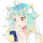 1girl :d ahoge animal_ear_fluff animal_ears aqua_hair bangs blue_eyes cat_ears cellphone chinese collarbone eyebrows_visible_through_hair fang hair_between_eyes hair_ornament hands_up heart heart-shaped_pupils heart_ahoge highres holding holding_cellphone holding_phone long_hair looking_away mao_ge multicolored multicolored_eyes open_mouth original own_hands_together phone pink_eyes prehensile_hair shirt simple_background smile solo spoken_heart star star_hair_ornament steepled_fingers symbol-shaped_pupils translation_request upper_body white_background white_shirt