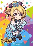 1girl ayase_eli bangs birthday black_footwear blonde_hair blue_eyes boots bow bowtie breasts character_name chibi commentary_request earrings english eyebrows_visible_through_hair frills hair_bow hand_on_hip happy_birthday jewelry kira-kira_sensation! long_hair looking_at_viewer love_live! love_live!_school_idol_project medium_breasts miloku ponytail rectangle shoulder_cutout solo standing star thigh-highs triangle white_legwear