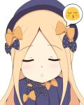 1girl :o abigail_williams_(fate/grand_order) absurdres bangs black_bow black_dress black_hat blonde_hair blue_eyes blush bow closed_eyes commentary_request dress emoticon eyebrows_visible_through_hair facing_viewer fate/grand_order fate_(series) forehead hair_bow hat highres long_hair looking_at_viewer mitchi o3o orange_bow parted_bangs parted_lips polka_dot polka_dot_bow puckered_lips simple_background solo upper_body white_background