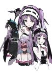 4girls absurdres andrian_gilang bare_shoulders blindfold bonnet cloak collar euryale fate/grand_order fate_(series) hairband headdress highres leotard lolita_hairband long_hair looking_at_viewer medusa_(lancer)_(fate) multiple_girls open_mouth purple_hair rider siblings sisters sitting smile stheno twintails underwear very_long_hair violet_eyes