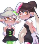 +_+ 2girls :/ aori_(splatoon) arms_behind_back bare_shoulders black_dress black_hair breasts closed_mouth cousins detached_collar domino_mask dress earrings eyebrows_visible_through_hair gloves green_legwear grey_hair hair_rings highres hotaru_(splatoon) jewelry jumpsuit long_hair mask medium_breasts mole mole_under_eye multiple_girls nintendo open_mouth orange_eyes pantyhose pink_legwear pointy_ears satokichi short_hair short_jumpsuit shorts_under_dress splatoon splatoon_1 strapless strapless_dress suction_cups tentacle_hair white_background white_gloves