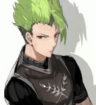 1boy achilles_(fate) andrian_gilang armor fate/apocrypha fate_(series) green_hair highres male_focus shadow simple_background solo upper_body white_background yellow_eyes