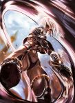 1girl armor breasts commentary english_commentary from_below gauntlets highres isabella_valentine judgmentboygold large_breasts lipstick makeup navel pauldrons purple_lipstick revealing_clothes short_hair single_gauntlet soul_calibur swinging sword thighs weapon whip whip_sword white_hair
