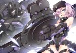 1girl armor armored_dress black_armor black_gloves black_leotard breasts cleavage fate/grand_order fate_(series) gloves holding_shield jie_laite large_breasts leg_armor leotard looking_at_viewer mash_kyrielight mecha ortenaus pink_hair robot shield short_hair shoulder_armor violet_eyes visor_lift vr_visor