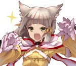 >:o 1girl animal_ears brown_hair cat_ears commentary_request fangs gloves green_eyes jako_(toyprn) nintendo niyah short_hair simple_background solo upper_body white_background white_gloves xenoblade_(series) xenoblade_2