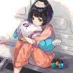 1girl bandage bangs black_hair brown_eyes chiko_(mizuho) collar commentary_request copyright_name english isurugi_misora kamen_rider kamen_rider_build_(series) long_sleeves object_hug pajamas ponytail short_hair sidelocks sitting sleeves_rolled_up solo stuffed_toy