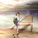 1girl backpack bag barefoot blue_shorts brown_eyes brown_hair clouds cloudy_sky commentary_request footprints from_behind hood hood_down jacket ocean open_clothes open_jacket original railing sak_(user_yarg) sand short_hair shorts sky solo walking waves white_jacket