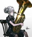 1girl bangs black_dress black_hairband black_legwear blush blush_stickers breasts buttons chair double_bun dress g11_(girls_frontline) girls_frontline hair_between_eyes hairband highres holding holding_instrument infukun instrument long_hair looking_at_viewer open_mouth pantyhose short_sleeves sidelocks signature silver_hair sitting small_breasts solo tuba