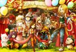 adelbert_steiner baku_(ff9) beatrix black_hair blank blonde_hair blue_eyes bodysuit breasts brown_eyes brown_hair choker cinna commentary_request dress eiko_carol everyone final_fantasy final_fantasy_ix freija_crescent garnet_til_alexandros_xvii gloves long_hair meche multiple_boys multiple_girls orange_bodysuit quina_quen ruby_(ff9) salamander_coral short_hair smile tail vivi_ornitier zidane_tribal