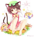 >_< 3girls animal_ear_fluff animal_ears artist_name ass bangs bare_legs barefoot blonde_hair bow bowtie breasts brown_hair bug butterfly cat_ears cat_tail chen chibi commentary_request covered_mouth dress earrings eyebrows_visible_through_hair fan flying folding_fan fox_tail full_body green_hat hair_bow hand_up hat hat_ribbon holding holding_fan insect jewelry knees_up long_hair long_sleeves looking_at_viewer mob_cap multiple_girls multiple_tails nekomata open_mouth outstretched_arms petticoat pillow_hat ramudia_(lamyun) red_bow red_dress red_ribbon ribbon shadow shiny shiny_skin shirt short_hair simple_background sitting small_breasts sun_(symbol) tabard tail thighs touhou twitter_username two_tails very_long_hair violet_eyes white_background white_dress white_hat white_shirt wide_sleeves yakumo_ran yakumo_yukari yellow_bow yellow_eyes yellow_neckwear