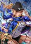 1girl ahoge artoria_pendragon_(all) baseball_cap black_hat black_shorts blonde_hair blue_eyes blue_jacket blue_scarf chain-link_fence closed_mouth commentary english_commentary excalibur fate/grand_order fate_(series) fence hair_through_headwear hat holding holding_sword holding_weapon jacket looking_to_the_side magion02 mysterious_heroine_x open_clothes open_jacket ponytail scarf shirt shorts sword touching_hat track_jacket weapon white_shirt