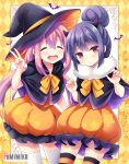 2girls :d argyle argyle_background artist_name bat blue_hair blush brown_eyes capelet closed_eyes demon_horns eyebrows_visible_through_hair hair_between_eyes hair_bun halloween hat head_tilt horns kagamihara_nadeshiko long_hair looking_at_viewer low_twintails multiple_girls open_mouth parted_lips pink_hair pomimiko shima_rin smile star star_print striped striped_legwear thigh-highs twintails v very_long_hair watermark web_address white_legwear witch witch_hat yurucamp