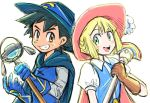 1boy 1girl black_hair blush brown_eyes creatures_(company) game_freak lillie_(pokemon) muraziti-zu nintendo pokemon pokemon_(anime) pokemon_sm_(anime) rainbow satoshi_(pokemon) smile staff