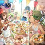 2boys 4girls alolan_form alolan_raichu baseball_cap beanie black_hair black_shirt blonde_hair blue_eyes blue_hair brown_eyes camera chair closed_mouth cosmog creatures_(company) cup dark_skin dark_skinned_male eating flower food food_on_face from_side game_freak gen_1_pokemon gen_2_pokemon gen_3_pokemon gen_5_pokemon gen_7_pokemon glass_door green_eyes green_hair hair_flower hair_ornament hairband hat hau_(pokemon) kettle lillie_(pokemon) litten long_hair malasada mao_(pokemon) mizuki_(pokemon) multiple_boys multiple_girls nintendo overalls plate pokemon pokemon_(creature) pokemon_(game) pokemon_sm ponytail popplio pyukumuku red_hat rowlet sentret shirt short_hair short_sleeves sitting sleeveless sleeveless_shirt smile spoink spoon standing steenee suiren_(pokemon) swimsuit swimsuit_under_clothes swinub table taking_picture teacup tepig trial_captain twintails white_shirt you_(pokemon) zuizi
