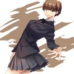 1girl amagami arched_back arm_at_side black_jacket blazer brown_eyes brown_hair cowboy_shot dutch_angle grey_skirt jacket kibito_high_school_uniform kurosawa_noriko's_entourage light_smile long_sleeves looking_at_viewer pleated_skirt raised_eyebrows reaching_out school_uniform short_hair skirt smile solo wind woori_(jtfy3485)