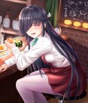 1girl :3 :d aircraft airplane anchor_symbol bangs bar bar_stool black_hair blue_bow blue_neckwear blurry blurry_background blush bottle bow bowtie breasts brick_wall bug chalkboard collared_shirt commentary_request counter cup depth_of_field doodle dress drink drinking_glass eyebrows_visible_through_hair fingernails food food_request glowing hair_over_one_eye hair_ribbon halloween hayashimo_(kantai_collection) headgear highres holding holding_cup ice ice_cube indoors insect jack-o'-lantern kantai_collection label long_hair long_sleeves looking_to_the_side moth open_mouth pantyhose pink_eyes plate pleated_dress purple_legwear red_dress ribbon round_teeth sabakuomoto school_uniform seamed_legwear shelf shirt sitting smile solo spoon stool teeth tokitsukaze_(kantai_collection) tongue translated transparent two_side_up white_ribbon white_shirt