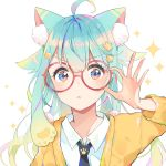 1girl adjusting_eyewear ahoge animal_ear_fluff animal_ears aqua_hair arm_up bangs black_neckwear blue_eyes blush cardigan cat_ears collarbone eyebrows_visible_through_hair fingernails glasses hair_between_eyes hair_ornament highres long_hair looking_at_viewer mao_ge multicolored multicolored_eyes necktie original parted_lips pink_eyes red-framed_eyewear round_eyewear shirt simple_background solo sparkle star star_hair_ornament upper_body v-shaped_eyebrows white_background white_shirt yellow_cardigan