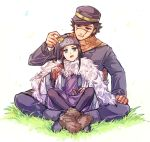1boy 1girl ainu ainu_clothes araiguma_(gomipanda123) asirpa bandanna black_hair blue_eyes boots brown_eyes cape coat earrings facial_scar fur_boots fur_cape golden_kamuy grass hat hoop_earrings jewelry legs_crossed long_hair long_sleeves looking_at_another military military_hat military_uniform open_mouth pants scar scarf short_hair simple_background sitting sitting_on_lap sitting_on_person sugimoto_saichi uniform white_background wide_sleeves