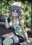 1girl arm_support bangs bare_shoulders bench beret black_shorts blue_eyes blush bottle breasts cleavage commentary_request day eyebrows_visible_through_hair green_legwear green_shirt grey_hair hair_between_eyes hat highres holding holding_bottle honkai_impact long_hair looking_at_viewer off-shoulder_shirt on_bench outdoors parted_lips qunqing shirt short_shorts short_sleeves shorts single_thighhigh sitting small_breasts solo sweat thigh-highs transparent water water_bottle white_hat