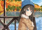1girl :d autumn_leaves black_hair blue_eyes blue_sky blurry clouds cloudy_sky commentary_request depth_of_field fur_trim hat horizon jacket lake leaf long_hair looking_at_viewer maple_leaf miko_fly open_mouth original reflection sky smile solo tree