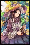 1girl alternate_costume araiguma_(gomipanda123) asirpa bangs blue_eyes bow bowtie cowboy_shot dagger dress earrings flower frilled_dress frills golden_kamuy hat hat_feather hat_flower highres hoop_earrings jewelry lolita_fashion looking_at_viewer parted_bangs solo sunflower weapon