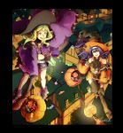 2girls artist_name belt black_gloves black_legwear blue_hair broom broom_riding candy circlet detached_sleeves fire_emblem fire_emblem:_kakusei fire_emblem:_souen_no_kiseki fire_emblem_heroes food gloves green_eyes green_hair halloween_basket halloween_costume hat headband highres house jack-o'-lantern kkonisa long_hair long_sleeves mamkute multiple_girls nintendo nono_(fire_emblem) open_mouth short_shorts shorts sleeves_past_fingers sleeves_past_wrists thigh-highs violet_eyes wayu_(fire_emblem) white_headband witch_hat