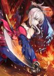 1girl absurdres bangs blue_eyes blue_kimono breasts cleavage collarbone damow_(myway83522) dual_wielding eyebrows_visible_through_hair fate/grand_order fate_(series) fighting_stance fire hair_ornament highres holding holding_sword holding_weapon indoors japanese_clothes katana kimono large_breasts leaf_print long_hair long_sleeves looking_at_viewer magatama maple_leaf_print miyamoto_musashi_(fate/grand_order) nose obi open_mouth pink_hair ponytail sash sheath sidelocks solo standing sword unsheathed weapon wooden_floor