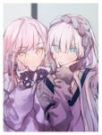 2girls alternate_costume anastasia_(fate/grand_order) ashita_kura bangs blue_eyes blush commentary earrings eyebrows_visible_through_hair fate/grand_order fate_(series) hair_between_eyes hair_over_one_eye hairband hands_on_own_cheeks hands_on_own_face highres jewelry long_hair long_sleeves looking_at_viewer medb_(fate)_(all) medb_(fate/grand_order) multiple_girls pink_hair self_shot sidelocks silver_hair smile sweater yellow_eyes