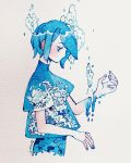 1girl blue_hair droplet highres looking_down maruti_bitamin no_mouth original photo profile severed_hand short_hair short_sleeves solo traditional_media upper_body water wave_print waves white_background