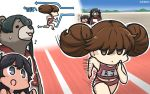3girls alternate_costume animal animalization bear black_hair blush brown_eyes brown_hair dated directional_arrow hamu_koutarou highres i-400_(kantai_collection) kantai_collection long_hair mikuma_(kantai_collection) multiple_girls name_tag no_hat no_headwear open_mouth running ryuujou_(kantai_collection) short_hair sparkle speed_lines twintails violet_eyes