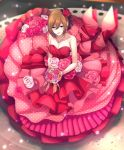 1girl :d akiyoshi_(tama-pete) blurry bouquet breasts brown_hair depth_of_field dress earrings eyebrows_visible_through_hair flower frilled_dress frills from_above full_body gloves hair_flower hair_ornament happy hat jewelry light_smile looking_at_viewer looking_up meiko necklace open_mouth orange_flower pink_dress pink_flower pink_gloves pink_rose polka_dot polka_dot_dress purple_flower red_eyes red_flower red_rose ribbon rose short_hair sleeveless sleeveless_dress smile solo vocaloid white_flower