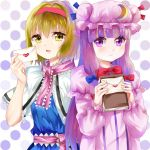 2girls alice_margatroid bangs blonde_hair blue_bow blue_ribbon blunt_bangs blush book bow capelet commentary_request crescent crescent_moon_pin envelope hair_bow hairband hat hat_ribbon heart holding holding_book letter long_hair looking_at_viewer love_letter multiple_girls patchouli_knowledge pink_neckwear polka_dot polka_dot_background purple_hair red_bow red_hairband red_neckwear red_ribbon ribbon rizuyuki short_hair touhou upper_body very_long_hair violet_eyes yellow_eyes