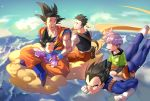 5boys :d ^_^ armor black_eyes black_hair blue_sky boots brothers carrying chinese_clothes clenched_hands closed_eyes closed_eyes clouds cloudy_sky day dougi dragon_ball dragonball_z eating evening expressionless eyebrows_visible_through_hair father_and_son floating_hair flying flying_nimbus food full_body gloves green_shirt happy highres legs_crossed lettuce long_sleeves looking_at_another looking_back male_focus mountain multiple_boys open_mouth orange_pants outdoors profile purple_hair red_footwear sandwich shaded_face shirt shoes short_hair siblings sitting sky smile sneakers son_gohan son_gokuu son_goten spiky_hair sunlight trunks_(dragon_ball) vegeta waistcoat waving white_gloves white_shirt wristband