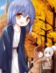 >_< 3girls :d autumn autumn_leaves backpack bag bangs belt black_belt blue_hair blue_jacket blue_sky blush brown_eyes brown_hair brown_jacket brown_pants brown_skirt brown_sweater clouds collarbone commentary_request day dress eyebrows_visible_through_hair hair_between_eyes hair_bun hood hood_down hooded_jacket jacket long_sleeves multiple_girls open_clothes open_jacket open_mouth original outdoors pants parted_lips pleated_skirt silver_hair skirt sky sleeves_past_wrists smile standing sweater tower tree white_dress xd yuuhagi_(amaretto-no-natsu)