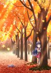 1girl :o animal ankle_cuffs autumn autumn_leaves bangs beige_jacket blue_hair blush brown_legwear cat commentary_request day eyebrows_visible_through_hair frilled_jacket hair_ribbon hand_up highres idolmaster idolmaster_cinderella_girls leaf leaning_to_the_side long_hair long_sleeves looking_at_viewer maple_leaf outdoors parted_lips peeking_out red_eyes red_ribbon red_skirt regular_mow ribbon sajou_yukimi shirt skirt solo standing tree very_long_hair white_shirt