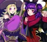 2girls animal_ears blonde_hair cosplay dragon_girl dragon_wings dress fire_emblem fire_emblem:_kakusei fire_emblem:_seima_no_kouseki fire_emblem_heroes halloween halloween_costume hat looking_at_viewer multiple_girls myrrh nintendo nn_(fire_emblem) pointy_ears purple_hair rabbit_ears red_eyes rem_sora410 smile twintails violet_eyes wings witch_hat