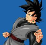 1boy black_eyes black_hair blue_background clenched_hand dougi dragon_ball dragon_ball_super dutch_angle earrings evil_smile fighting_stance fingernails frown gokuu_black jewelry light_smile long_sleeves looking_away male_focus potara_earrings short_hair simple_background single_earring smile spiky_hair upper_body