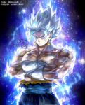 1boy artist_name aura chest cowboy_shot crossed_arms dirty dirty_face dragon_ball dragon_ball_super dragonball_z earrings expressionless frown gloves green_eyes instagram_username jewelry kim_yura_(goddess_mechanic) looking_away male_focus muscle potara_earrings shaded_face shirtless short_hair simple_background sky spiky_hair standing star star_(sky) starry_background starry_sky torn_clothes twitter_username ultra_instinct upper_body vegetto watermark white_background white_gloves white_hair