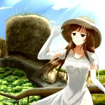 1girl adjusting_clothes adjusting_hat bangs blue_sky breasts brown_eyes brown_hair brown_hat closed_mouth clouds cloudy_sky commentary_request day dress elbow_gloves gloves half-closed_eyes hand_up hat helena_havel horizon landscape large_breasts light_smile long_hair looking_afar nature outdoors railing short_sleeves sky solo standing sun_hat sundress twitter_username ukagaka white_gloves wind wind_lift