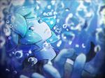 1other androgynous aqua_eyes aqua_hair blue blue_eyes blue_hair bubble colored_eyelashes gem_uniform_(houseki_no_kuni) highres houseki_no_kuni looking_at_viewer moyu_(forest1101) necktie phosphophyllite short_hair solo underwater upper_body