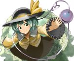 1girl black_hat blush bow breasts collarbone collared_shirt eyeball eyebrows_visible_through_hair frilled_sleeves frills from_above grass green_eyes green_hair green_skirt hair_between_eyes hat hat_bow hat_ribbon heart heart_of_string kanata_(chack_fastener) komeiji_koishi long_sleeves looking_at_viewer looking_up ribbon shirt skirt small_breasts solo string third_eye touhou water wavy_hair wide_sleeves yellow_ribbon yellow_shirt